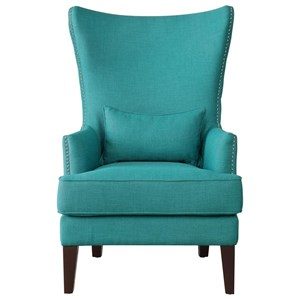 Transitional Wingback Accent Chair with Kidney Pillow