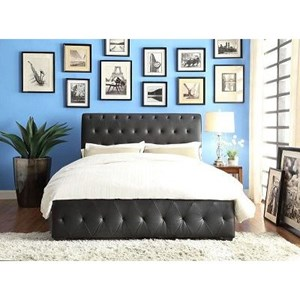 Contemporary Queen Upholstered Platform Bed with Tufting