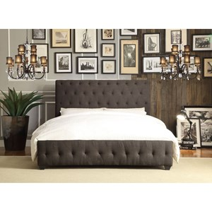 Contemporary King Upholstered Platform Bed with Tufting