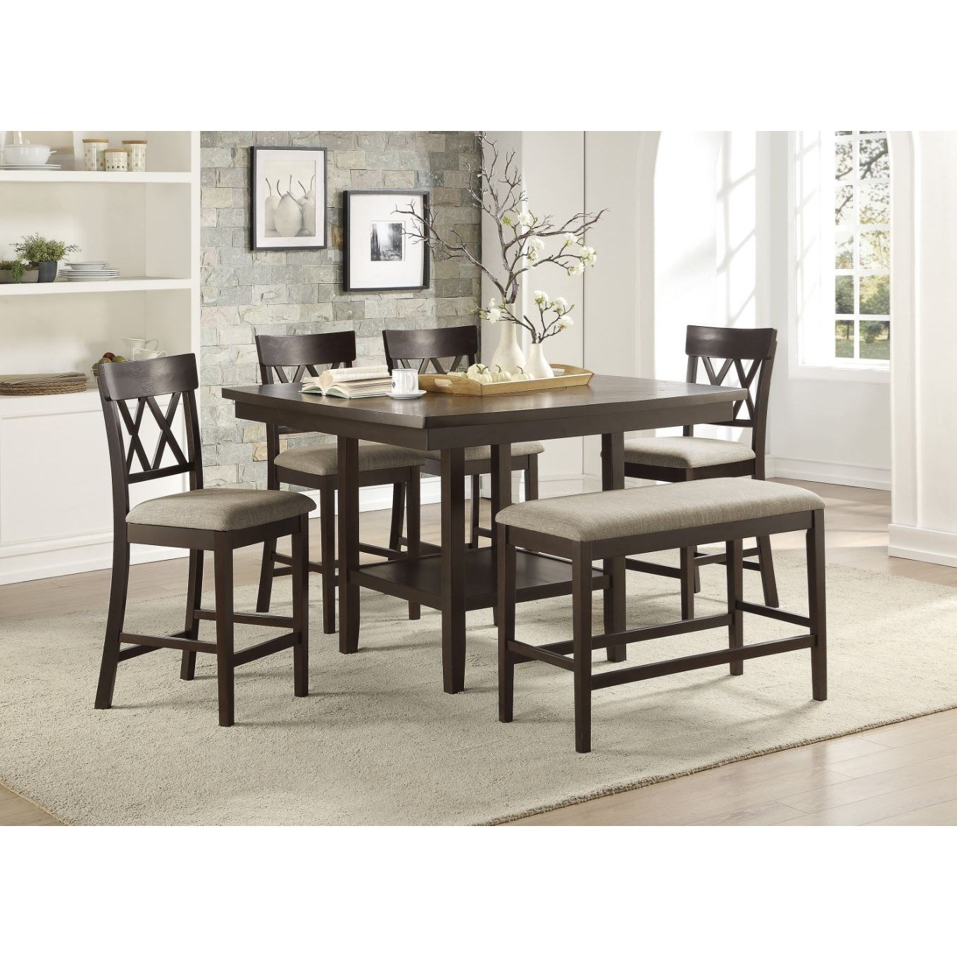 Balin 6-Piece Counter Height Table and Chair Set by Homelegance at Darvin Furniture