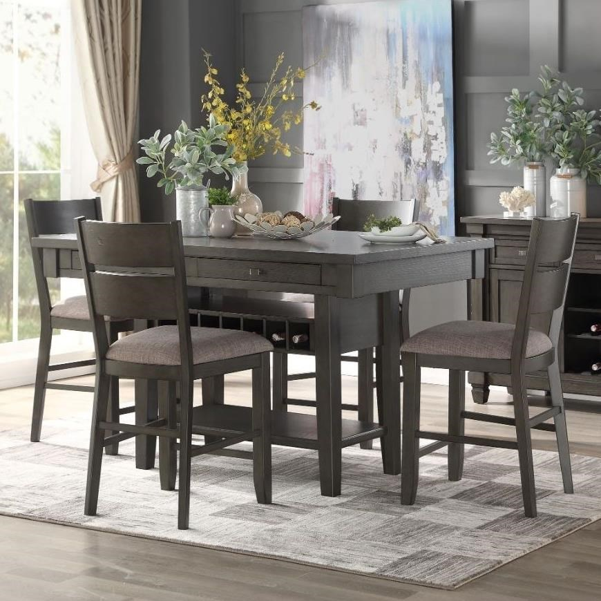 Baresford 5-Piece Counter Height Dining Set by Homelegance at Rife's Home Furniture
