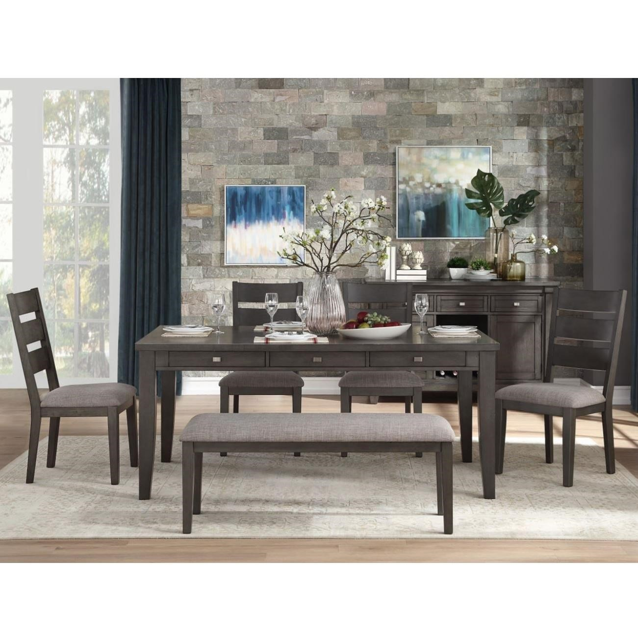 Baresford 6-Piece Table and Chair Set with Bench by Homelegance at Beck's Furniture