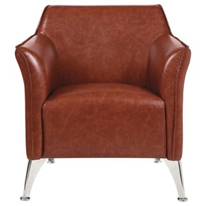Contemporary Accent Chair with Metal Legs