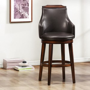 Transitional Upholstered Counter Height Chair with Swiveling Seat