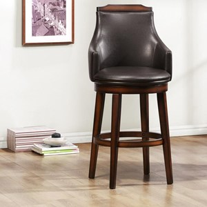 Transitional Upholstered Bar Height Chair with Swiveling Seat