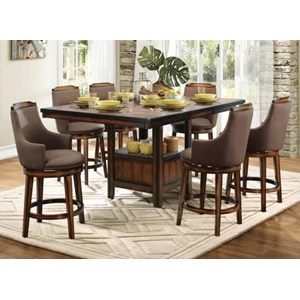 Transitional Counter Height Table and Chair Set with Storage