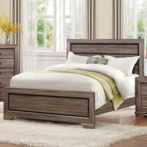 Contemporary Queen Headboard and Footboard with Dark Under-Paneling