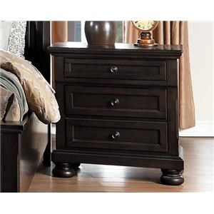 Grey Transitional Wood Night Stand with Hidden Drawer
