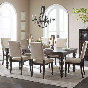 Transitional Seven Piece Dining Table Set