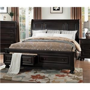 Grey Transitional Queen Platform Bed with Foot-Storage