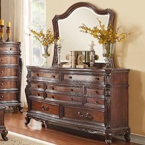 Traditional 7-Drawer Dresser and Mirror with Elegant Wood Molding