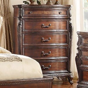 Traditional 5-Drawer Chest with Egg and Dart Molding