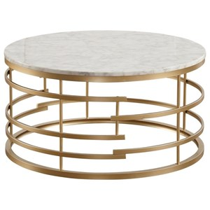Glam Round Cocktail Table with Faux Marble Top