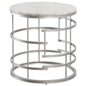 Glam Round End Table with Faux Marble Top