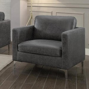 Contemporary Upholstered Chair with Metal Legs