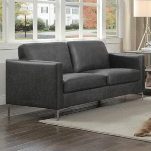 Contemporary Love Seat with Metal Legs