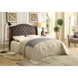 Transitional California King Upholstered Bed with Button Tufting and Nailhead Trim
