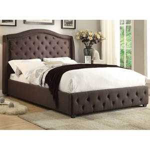 Transitional King Upholstered Bed with Button Tufting and Nailhead Trim