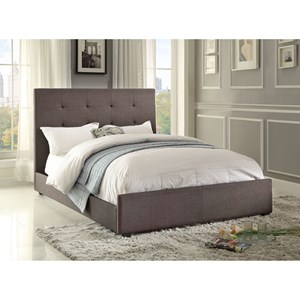 Contemporary Queen Upholstered Bed with Tufted Headboard