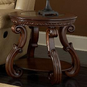 Traditional Round End Table with Glass Inlay