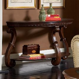 Traditional Warm Cherry Sofa Table with Glass Inlay