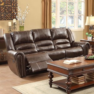 Traditional Reclining Sofa with Nailhead Trim