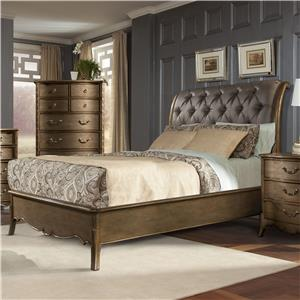 Queen Sleigh Bed with Button Tufted Headboard