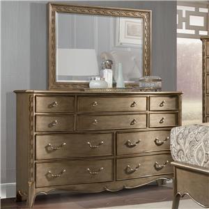 Dresser and Mirror Set with Landscape Mirror