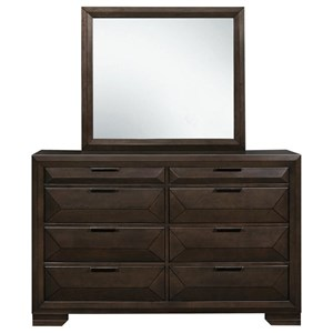 Contemporary Eight Drawer Dresser and Mirror Set