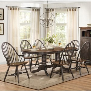 Transitional Dining Table and Chair Set with Two-Tone Finish
