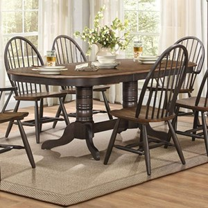 Transitional Double Pedestal Dining Table with Table Leaf