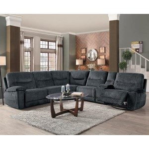 Transitional Six Piece Sectional with Storage Console