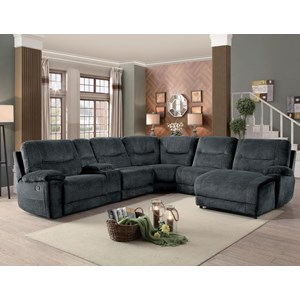 Transitional Six Piece Sectional with Reclining Chaise