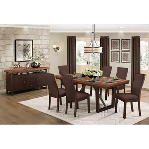 Contemporary Dining Room Group with Self-Storing Table Leaf