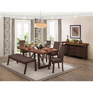 Contemporary Dining Room Group with Self-Storing Table Leaf and Bench