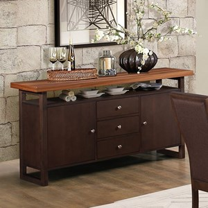 Contemporary Dining Server with Two-Tone Finish