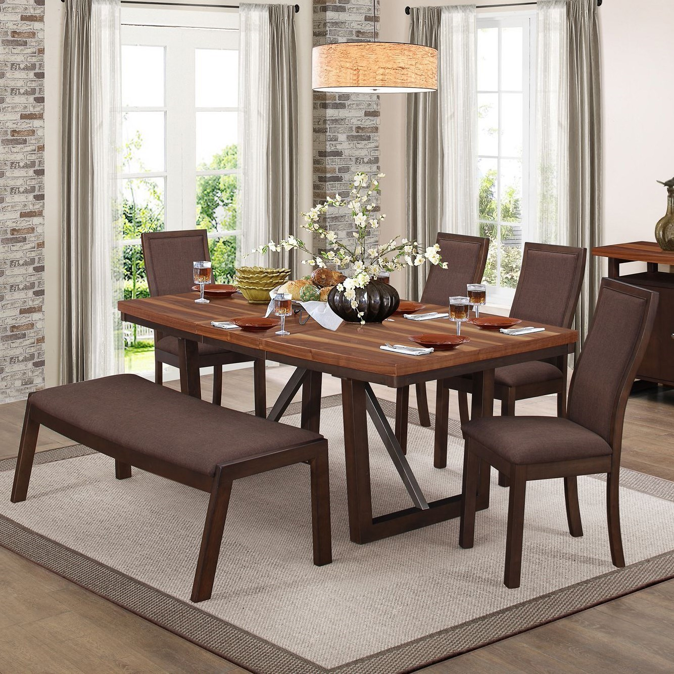 Compson Table and Chair Set with Bench by Homelegance at Beck's Furniture