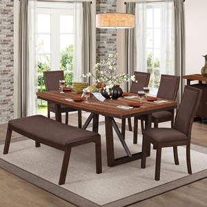 Contemporary Table and Chair Set with Bench and Self-Storing Leaf