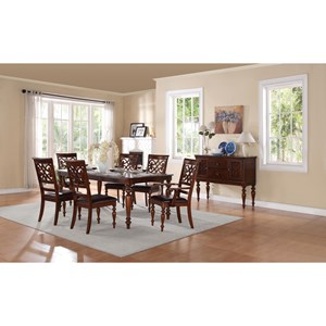 Traditional Formal Dining Room Group with Solid Wood Table Top