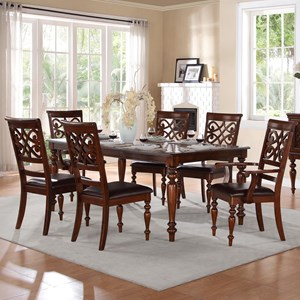 Traditional Table and Chair Set with Solid Wood Tabletop