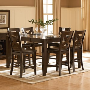 Transitional Pub Table and Counter Height Chair Set with Butterfly Leaf