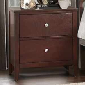 Contemporary 2-Drawer Nightstand with Metal Glides