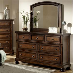 Transitional 7 Drawer Dresser and Framed Mirror