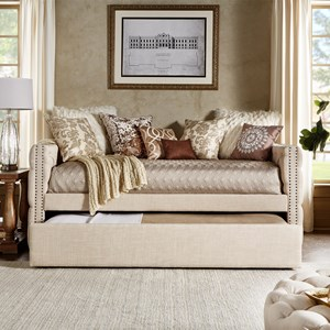 Traditional Beige Linen Upholstered Daybed with Trundle