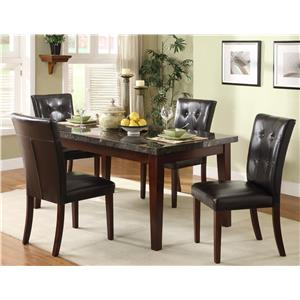 5 Piece Dining Set with Marble Tabletop and Upholstered Side Chairs