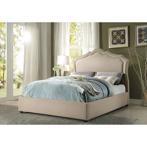 Transitional King Platform Bed with Nailhead Trim Headboard