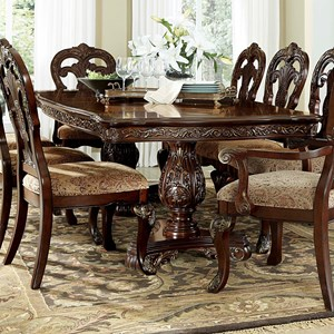 Traditional Formal Rectangular Dining Table with Intricate Detailing