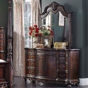 Traditional Dresser and Mirror with Elegant Details