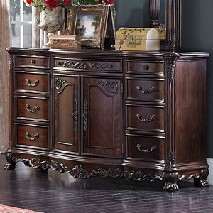 Traditional Dresser with Intricate Detailing and 9-Drawers