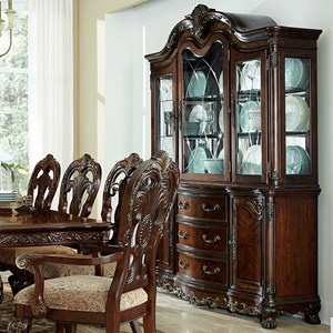 Traditional Dining Buffet with Hutch Featuring Built-In Lighting